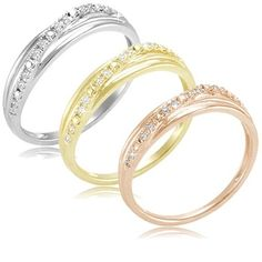 $24.99 - 1/10 Carat Diamond 3-Row Ring in Rose-Gold, Yellow-Gold or Sterling Silver