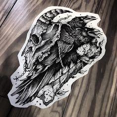No automatic alt text available. Black Tattoos, Body Art Tattoos, Sleeve Tattoos, Dibujos Tattoo, Desenho Tattoo, Raven Tattoo, Dark Tattoo, Tattoo Sketches, Tattoo Drawings