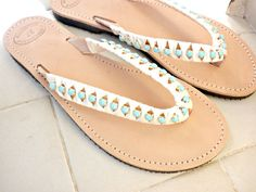 Flat wedding sandals - Greek leather sandals - Turquoise rhinestone sandals -Bridesmaids sandals -Beach flip flops with rhinestones