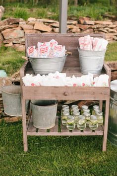 vintage rustic outdoor wedding snack bars