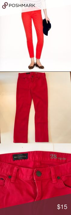 """J. Crew Bright Red Matchstick Jeans J. Crew Matchstick jeans in absolutely perfect condition! Vibrant bright red color. Slim through hip and thigh, with a slim, straight leg. Sits lower on hips. Traditional 5-pocket styling. 27"""" inseam. Size 28. J. Crew Jeans"""