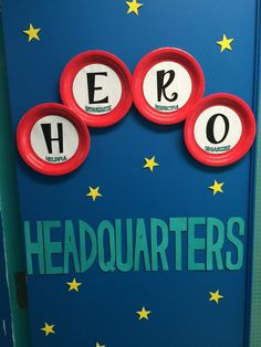Initially I was not very excited about the theme that was chosen for this school year - Heroes. I felt that everyone would focus on super h. Superhero School Theme, Superhero Bulletin Boards, Superhero Classroom Decorations, Superhero Teacher, School Decorations, Classroom Themes, Super Hero Decorations, Superhero Party, School Wide Themes