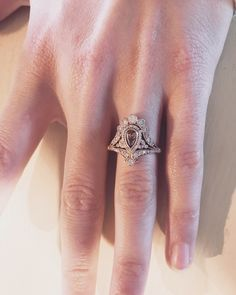 Engagement rose gold ring with white and brown diamonds. In a romantic Art Deco vintage setting. Say yes to the ring by Marion Rehwinkel Jewellery