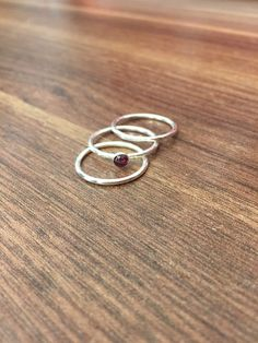 Stacking Rings...1.5mm wire with 4mm Garnet.