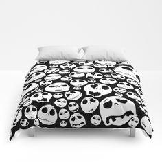 Halloween Jack Skellingtons emoticon face COMFORTERS #comforters #bedroom #room #home #homedecor #nightmare #before #christmas #jack #daniels #skellingtons