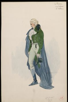 Costume illustrations for Axel von Fersen in the 1923 film L'enfant Roi by Charles Bétout.