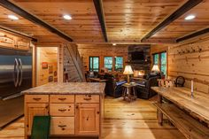 Georgia cabin rental - Spacious Kitchen & Family Room. Enjoy the views outside, fire, or a good movie