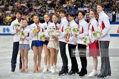 Ryuichi Kihara, Narumi Takahashi, Kanako Murakami, Mao Asada, Akiko Suzuki, Yuzuru Hanyu, Tatsuki Machida, Daisuke Takahashi, Cathy Reed and Chris Reed of Japan pose for photo session after they were selected as Japanese representitive for the olympic games in Sochi after the All Japan Figure Skating Championships at Saitama Super Arena on December 23, 2013 in Saitama, Japan.