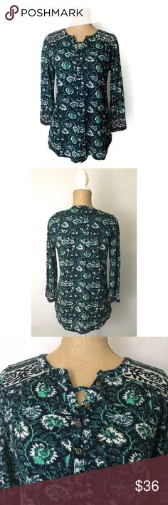 Lucky Brand Floral 3/4 Sleeve Boho Top Info:Lucky Brand Top Blue Green Floral 3/4 Sleeve Pullover Henley Blouse - Condition: New with tags - Tag Size: XS  *** Please see measurements below - Material: Cotton/Viscose/Linen - Care: Machine Wash - Flat Measurements: Bust (armpit to armpit) - 17 inches (Size 34) Length - 25 inches - *** Any known defects (i.e. rips, stains..etc) - if present - on an item will be disclosed under item condition and highlighted in the listing photos. Lucky…