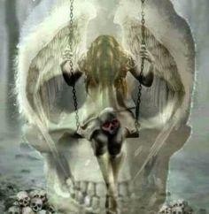 Skull & Gothic Art Skull Pictures, Angel Pictures, Illusion Paintings, Reflection Art, Skull Artwork, Crystal Skull, Grim Reaper, Gothic Art, Skull And Bones