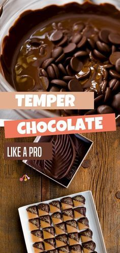 Learn how to temper chocolate the easiest way using a microwave! Tempered chocolate is shiny, breaks with a clean crisp break, and is perfect for candy. Melt Chocolate For Dipping, Chocolate Dipped Fruit, Chocolate Bomb, Melting Chocolate Chips, Best Chocolate, Chocolate Recipes, Chocolate Molds, Chocolate Making, Chocolate Shop