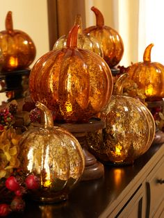 Mercury Glass Pumpkins illuminate and run on a timer. Set of 3! Orange and gold shown here. H200890 http://qvc.co/-Shop-ValerieParrHill