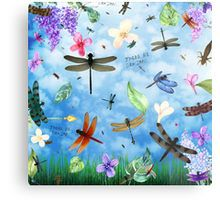 Metal Print for interior design . home decor with 'There Be Dragons' whimsical dragonfly art by Nola Lee Kelsey