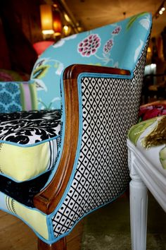 Custom Made Upholstered Chair Vintage wood show arm Chair by Jane Hall The Voice of Style