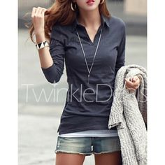 Casual Polo Collar Long Sleeves Solid Color T-Shirt For Women $11.30 @ Twinkledeals.com