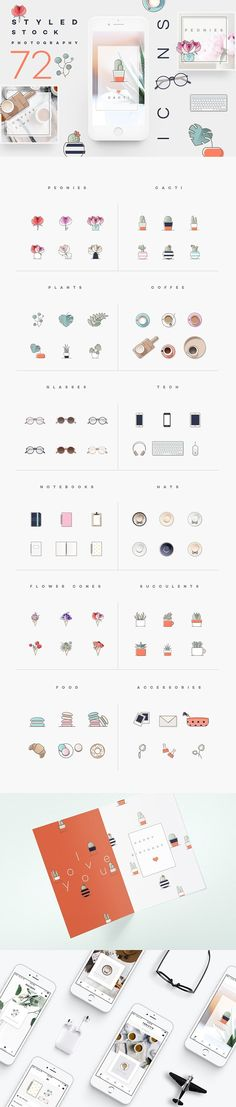 Styled stock photography icons - Collection of 72 icons that are specially curated for styled stock photographers, designers, bloggers, digital influencers and creative freelancers! This set contains all the favorite subjects in styled stock photography including the all-present peony flowers, cacti, succulents, monstera plants, smartphones, notebooks, fashion accessories etc. By Polar Vectors $25 #affiliatelink