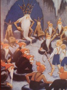 Rudolf Koivu tontut ja pojat koolla luolassa - Huuto.net Art Deco Illustration, Christmas Tale, Xmas, Baumgarten, Dream Fantasy, Scandinavian Christmas, Little People, Vintage Prints, Troll