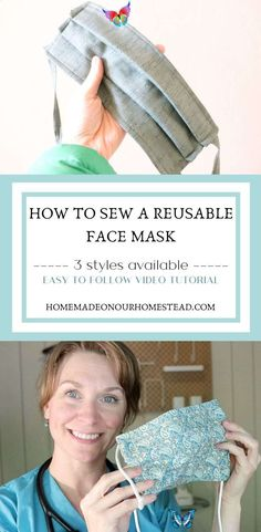 How to sew a reusable face mask with filter pocket | 3 face mask styles available | Video tutorials This quick and easy to follow tutorial video will show you how to sew a reusable face mask with a filter pocket. I have 3 different styles of masks to choose from depending on what your needs are. This is the perfect pattern if you're looking to BATCH sew medical masks for hospitals. These masks also include a flexible nose band, do not use elastic, and the tie straps are replaceable if they… Easy Face Masks, Homemade Face Masks, Diy Face Mask, Sewing Patterns Free, Sewing Tutorials, Video Tutorials, Pattern Sewing, Sewing Projects, Free Pattern