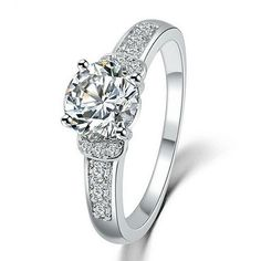 Stunning Promise, Engagement Ring Silver tone sz 6,7,8,9