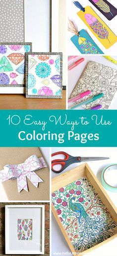 10 Easy Ways to Use Coloring Pages! Love adult coloring books? Don't let your favorite pages sit unused! Try these easy DIY ideas for using completed pages ... from art to bows and more! | Hello Little Home