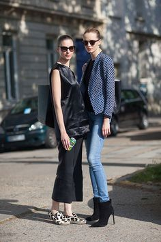 Street Style:Kati Nescher in Cèline shoes and Daria Strokus in Saint Laurent boots