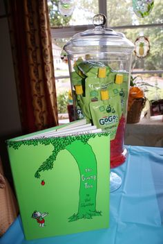 Children's Book Party Theme. Candy Buffet. First Birthday Party. The Giving Tree. Applesauce. Jar from @HomeGoods