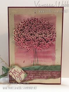 Thoughtful Branches Posy card - watercolouring technique - Vanessa Webb Stampin' UP! Australia, www.vanessawebb,stampinup.net