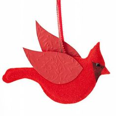 DIY Christmas Cardinal & Dove Ornaments - Red or Ivory Paper, Narrow Ribbon, Glue Gun & Glue.  Pattern for both birds @ http://www.bhg.com/christmas/ornaments/make-christmas-cardinal-and-dove-ornaments/