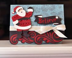 """Believe"" card made with a Quilted Christmas cartridge! #cricut"