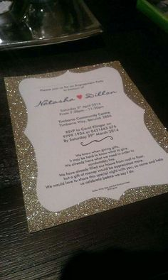 Elegant gold engagement invitations by Innovative Events