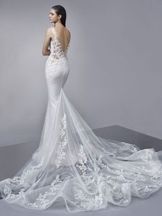 Apr 2020 - Shop our chic Enzoani Couture Wedding Dress and Bridal Gown Collection at Bridal Reflections. Contact us to schedule your private bridal appointment. Used Wedding Dresses, Wedding Dress Sleeves, Elegant Wedding Dress, Bridal Dresses, Wedding Gowns, Wedding Bells, Lace Wedding, Bridal Reflections, Dream Wedding
