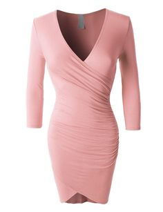 LE3NO Womens Lightweight 3/4 Sleeve Side Ruched Dress