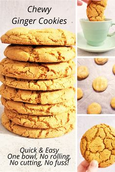 Chewy Ginger Cookies are best when chewy & crispy in all the right places. You might call them Ginger Biscuits but either way, you'll make double next time! Biscuit Recipes Uk, Easy Biscuit Recipe, Baking Recipes Uk, Easy Biscuits, Coffee Biscuits, Baking Biscuits, Cake Recipes, British Cookies, British Biscuits