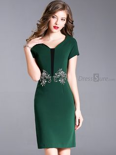Elegant V-Neck Short Sleeve Embroidery Bodycon Dress - Bodycon Dresses Long Sleeve Silk Dress, Maxi Dress With Sleeves, Beautiful Dresses, Nice Dresses, Short Dresses, Hollywood Dress, Classy Work Outfits, Straight Dress, Special Dresses