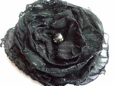 Black shimmering fabric flower, holiday flower, hair clip, pin brooch, hair accessory, bridesmaids hair accessories, shop small business