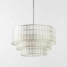 Capiz Tiered Chandelier, White/Polished Nickel from west elm for over dining room table