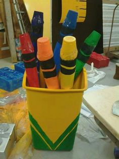 i cut a pool noodle in half, added a pair tube to one end(i did this to extend… Class Decoration, School Decorations, School Themes, Back To School Party, School Parties, Classroom Decor, Clean Classroom, Maker Fun Factory Vbs, Crayola