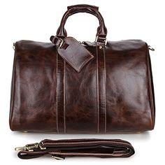 b82b981869be Baigio Retro Brown Genuine Leather Weekend Travel Duffle Bags Gym Sports Bag  for Men Travel Luggage