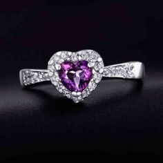 High-end natural heart-shaped amethyst silver ring - USD $57.99