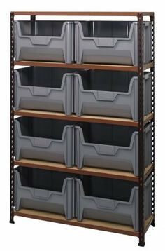 """Boltless Particle Board Shelving Heavy Duty 15 x 40 x 63 with 8 QGH700 RED Bins by Quantum. $649.10. . Convienent 4 side access ( no """"x"""" braces). Easy boltless assembly. 750lb load capacity per shelf. Heavy Duty4 Shelves Convienent 4 side access ( no """"x"""" braces) Easy boltless assembly 750lb load capacity per shelf Heavy Duty"""