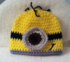 Custom Made Crochet Baby, Toddler, Kids Minion Hat Handmade With Soft Yarn