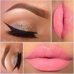 glitter eyeshadow and light pink lipstick holiday winter makeup