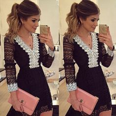 Sexy Mulheres Moda manga comprida V Neck cintura alta Casual Mini vestido preto
