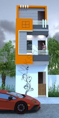 Indian house design, small house design, house plan with elevation, Nikshail House Design House Front Wall Design, Brick House Designs, Narrow House Designs, Small House Design, Modern House Design, 20x30 House Plans, Duplex House Plans, Duplex House Design, Indian House Plans