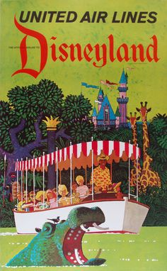 Visit Disneyland LA United Airlines Disney Vintage Poster/Print Art Deco $10