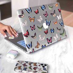 Funda Macbook Air, Apple Laptop Macbook, Macbook Pro Case, Marble Macbook Case, Macbook Air Accessories, Macbook Air Stickers, Matching Phone Cases, Cute Cases, Vintage Butterfly