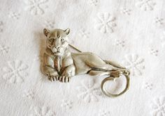 Pewter Panther or Lioness Brooch | Vintage Statement Pin
