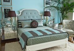 Grace Home Collection - eclectic - bedroom - los angeles - Grace Home Furnishings Master Bedroom, Bedroom Decor, Bedroom Ideas, Extra Bedroom, Blue Bedroom, Grace Home, Living Spaces, Living Room, Blue Rooms