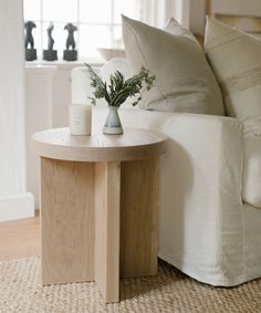 The Oak Side Table is a thoughtful piece of design executed at its finest. Made and crafted in Los Angeles, solid white oak wood is durable and hardwearing. Small End Tables, Modern End Tables, White Side Tables, End Tables With Storage, Narrow Side Table, Living Room End Tables, Living Room Sets, Living Room Decor, Side Table Decor