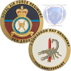 RAF Regiment challenge coin created for 3 Sqn RAF on their 25th anniversary. More at www.worldchallengecoins.co.uk #challengecoins #raf #rafreg